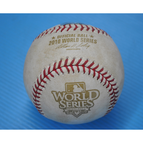 Game-Used Baseball - 2010 World Series - Game 4 - Pitcher: Madison Bumgarner, Batter - Jeff Francoeur - Pitch in the Dirt - 8th Inning
