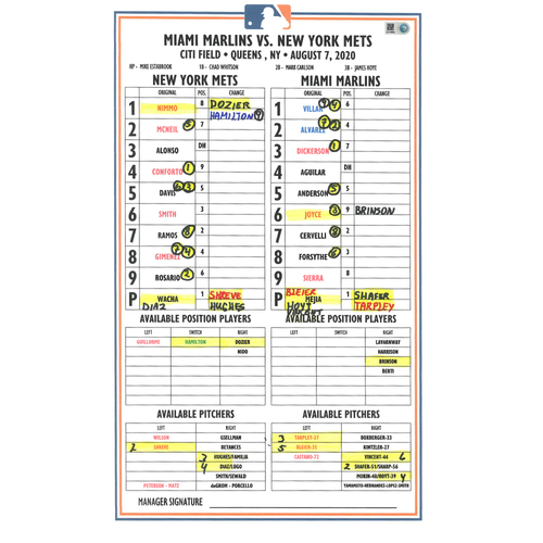 Photo of Game Used Lineup Card - Dominic Smith Hits 1st HR of 2020 - Mets vs. Marlins - 8/7/20