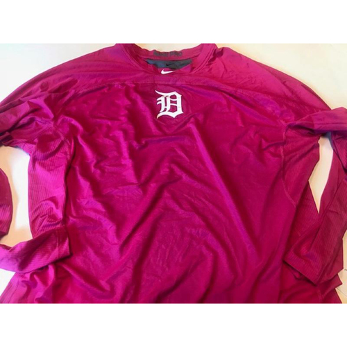 Photo of Team-Issued Detroit Tigers #20 Pink Nike Dri Fit Shirt