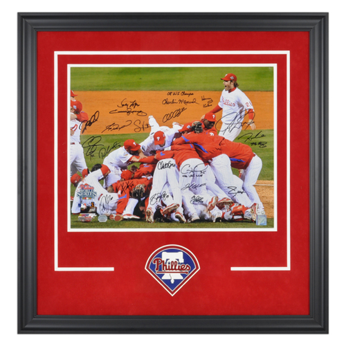 Photo of Philadelphia Phillies Deluxe Framed Autographed 16'' x 20'' World Series Photo with 21 Signatures