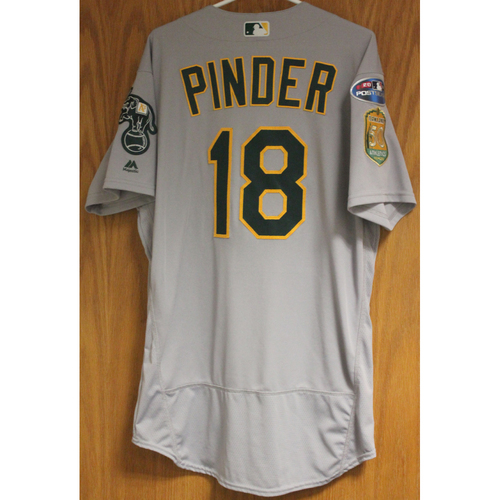 Photo of Game-Used Chad Pinder 2018 Jersey
