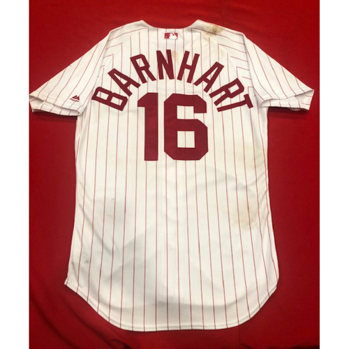 Photo of Tucker Barnhart -- 1967 Throwback Jersey (Starting C: Went 3-for-3, 2B, 2 RBI, BB) -- Game-Used for Rockies vs. Reds on July 28, 2019 -- Jersey Size: 44