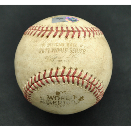 Photo of Game-Used Baseball - 2011 World Series - St. Louis Cardinals vs. Texas Rangers - Batter - Joshua Hamilton, Pitcher - Marc Rzepczynski - Groundout to Second Base - Top of 8 - Game 6 - 10/27/2011