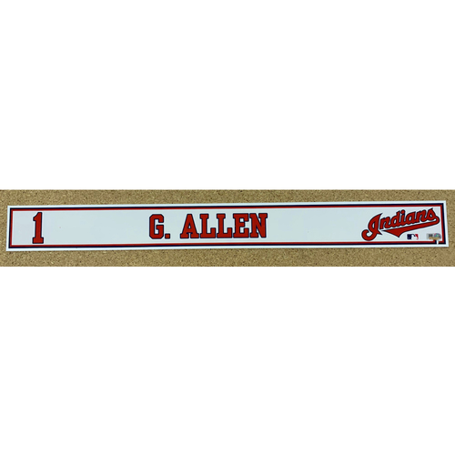 Photo of Greg Allen 2020 Spring Training Game-Used Locker Name Plate
