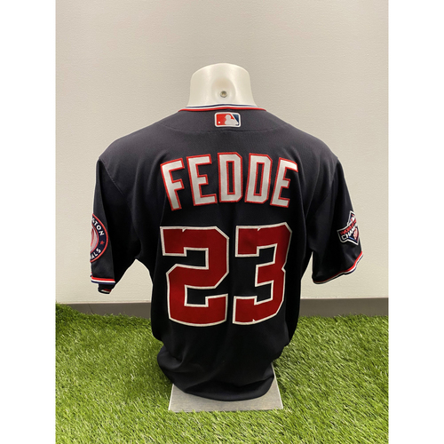 Photo of Erick Fedde 2020 Game-Used World Series Champions Navy Script Jersey