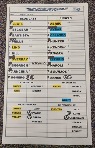 Photo of Authenticated Game Used Lineup Card (August 15, 2010 at LAA): Ricky Romero goes 7 IP with 1 ER for the Win