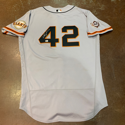 Photo of 2021 Autographed Game Used Jackie Robinson 42 Day Road Jersey worn by #7 (42) Donovan Solano on 4/16 @ MIA - Size 44