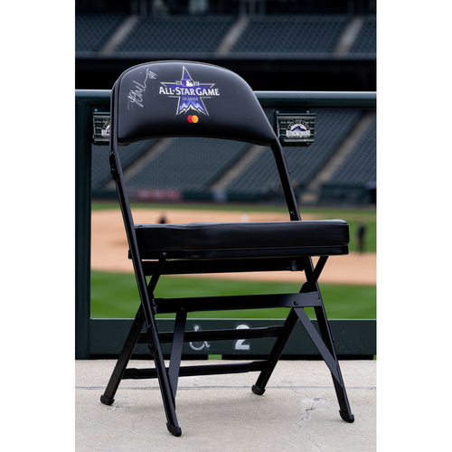 Photo of 2021 Celebrity Softball Game Autographed On Field Chair - Lauren Chamberlain