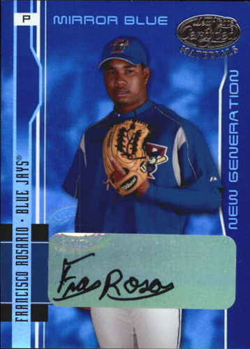 Photo of 2003 Leaf Certified Materials Mirror Blue Autographs #214 Francisco Rosario NG/50