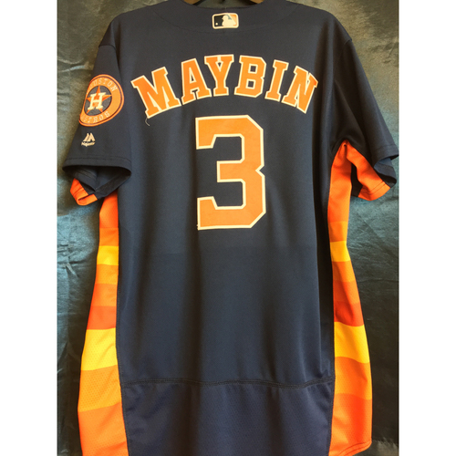 Photo of 2017 AL West Division Clinch Game-Used Cameron Maybin Navy Jersey