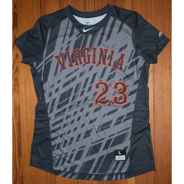 Photo of Game-Worn University of Virginia Softball Jersey: Gray #23