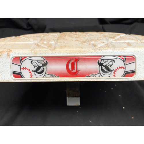 Photo of Bryce Harper Game-Used Base -- First Base Used for Harper's First & Second Home Runs of 2018 Season -- WSH vs. CIN on 4/1/18