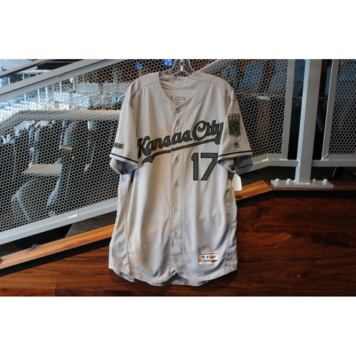 Photo of Game-Used Camo Jersey: Hunter Dozier 12th & 13th Career Hits (Size 48 - KC @ TEX - 5/26/18)
