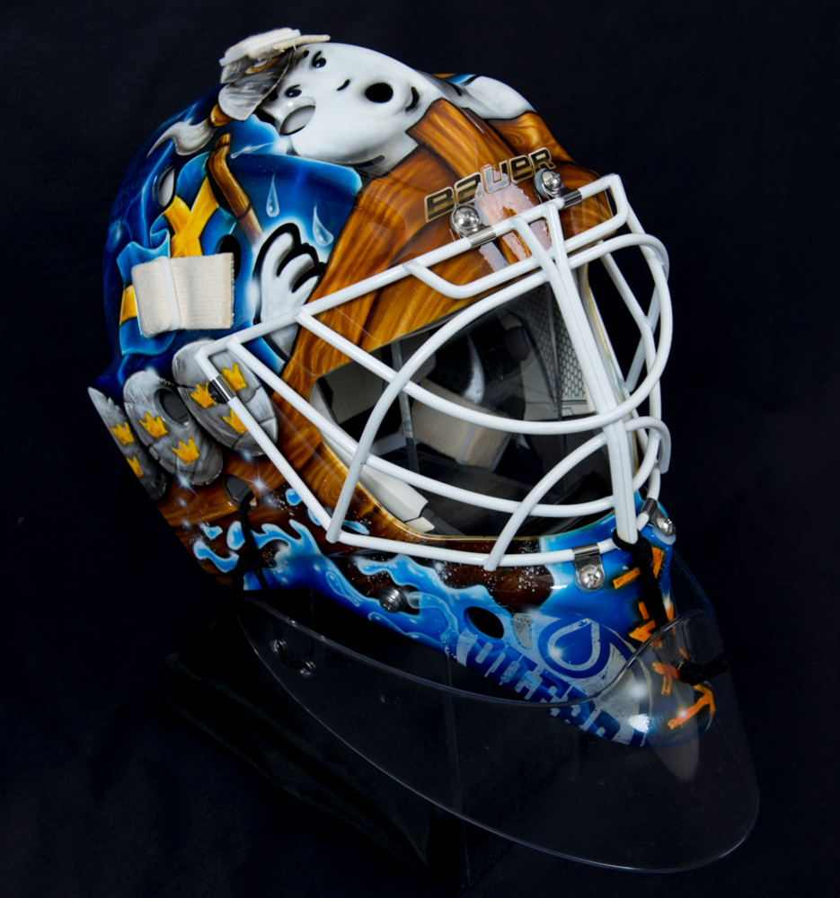 Cam Talbot #33 - Edmonton Oilers Game-Worn Goalie Mask Worn During The Oilers 2018-19 Season Opener vs. The New Jersey Devils In Gothenburg Sweden