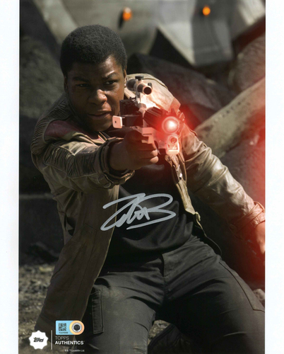 John Boyega as Finn 8x10 Autographed in Silver Ink Photo at the Battle of Takodana