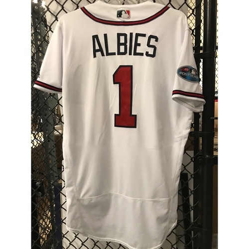 Ozzie Albies Game-Used 2018 NLDS Jersey - Worn 10/7/18 - First Postseason Game at SunTrust Park