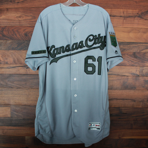 Photo of Game-Used Memorial Day Jersey: Kevin McCarthy (Size 46 - KC @ TEX - 5/27/18)