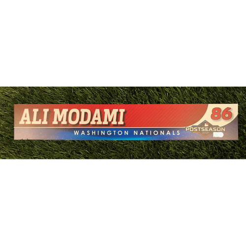 Photo of Game-Used Ali Modami 2019 Postseason Locker Tag