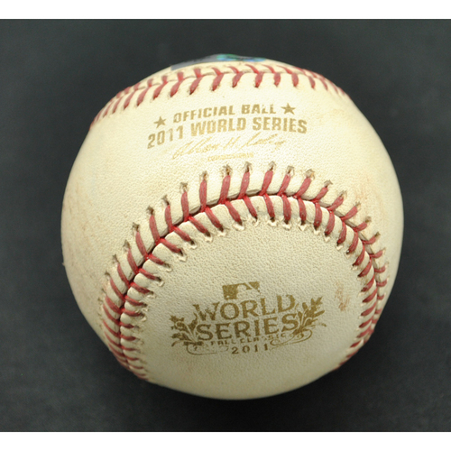 Photo of Game-Used Baseball - 2011 World Series - St. Louis Cardinals vs. Texas Rangers - Batter - Lance Berkman, Pitcher Mark Lowe - Foul Tip - Top of 8 - Game 3 - 10/22/2011