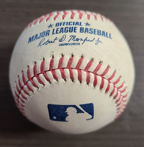 Photo of Authenticated Game Used Baseball: Foul by Pedro Severino against Rafael Dolis (Aug 31, 20 vs BAL). Top 9. Game played in Buffalo.