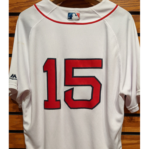 Photo of Dustin Pedroia #15 Game Used Home White Jersey