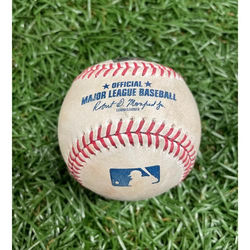 Photo of Game Used Baseball: Ross Stripling strikes out Ji-Man Choi and Taylor Walls - Bottom 2 - July 10, 2021 v TOR