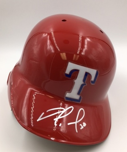 Photo of Nomar Mazara Autographed Rangers Batting Helmet
