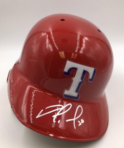 Photo of Nomar Mazara Autographed Rangers Batting Helmet