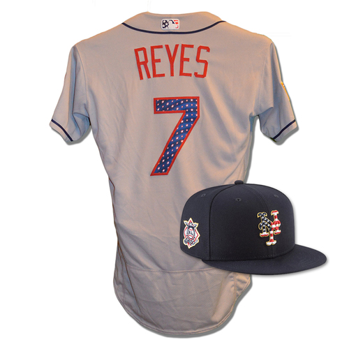 Photo of Jose Reyes #7 - Game Used 4th of July Jersey and Hat - Mets vs. Blue Jays - 7/4/18