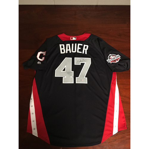Photo of Trevor Bauer 2018 Major League Baseball Workout Day Autographed Jersey