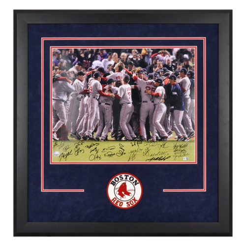 Photo of Boston Red Sox Autographed Deluxe Framed 16'' x 20'' World Series Celebration with 23 Signatures