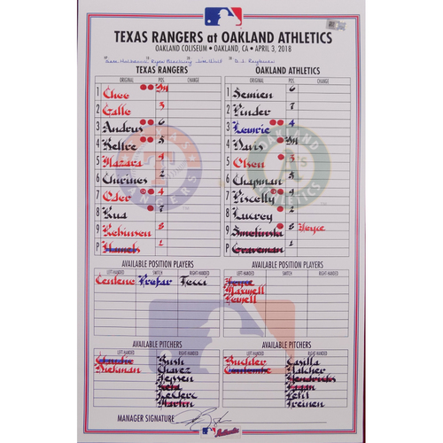 Photo of Rangers at Athletics - 4/3/18 - Game-Used LineUp Card