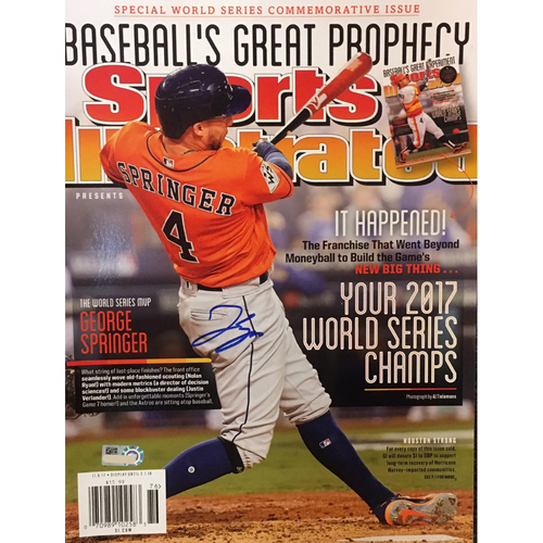 Photo of George Springer Autographed Sports Illustrated - 2017 Prediction Come True