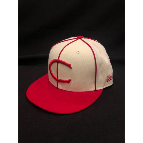 Photo of Eugenio Suarez -- Game-Used Cap -- 1912 Throwback Game (Starting 3B) -- Dodgers vs. Reds on May 19, 2019