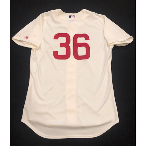 Photo of Derek Johnson -- Game-Used 1936 Throwback Jersey -- Cubs vs. Reds on June 30, 2019 -- Jersey Size 48