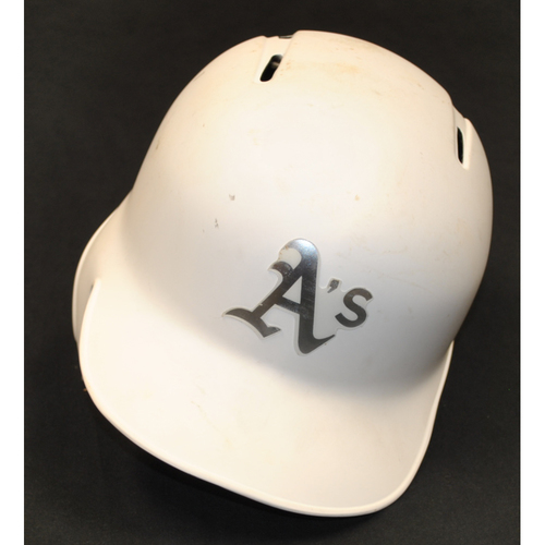 "Photo of Jurickson ""EL PATR""N"" Profar Oakland Athletics Game-Used 2019 Players' Weekend Helmet"