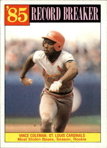 Photo of 1986 Topps #201 Vince Coleman RB/Most stolen bases&/season& rook