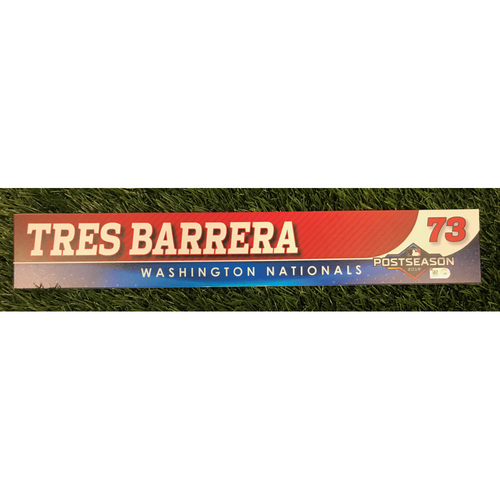 Photo of Game-Used Tres Barrera 2019 Postseason Locker Tag