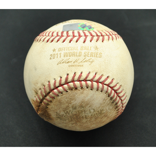 Photo of Game-Used Baseball - 2011 World Series - St. Louis Cardinals vs. Texas Rangers - Batter - Yadier Molina, Pitcher - Derek Holland - Foul Tip - Top of 8 - Game 4 - 10/23/2011