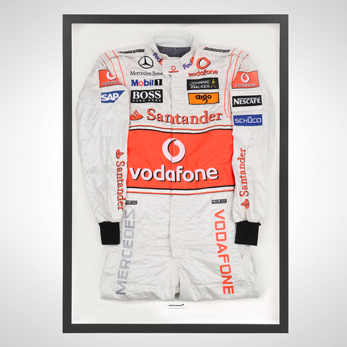 Photo of Lewis Hamilton 2008 Framed Race-worn Suit - McLaren