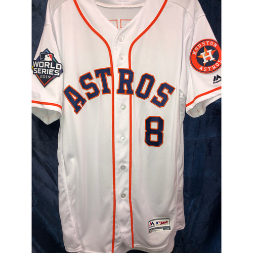 Photo of Gary Pettis Team-Issued 2019 World Series Home White Jersey (Size 44)