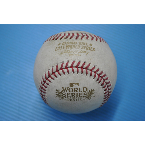 Photo of Game-Used Baseball - 2011 World Series - Game 1 - Pitcher: Jason Motte, Batter - Nelson Cruz - Fouled back to screen - 9th Inning