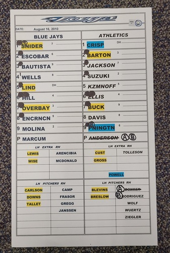 Photo of Authenticated Game Used Lineup Card (August 16, 2010 at OAK): 37th HR of Season for Jose Bautista (Franchise Record 54 HR Season)