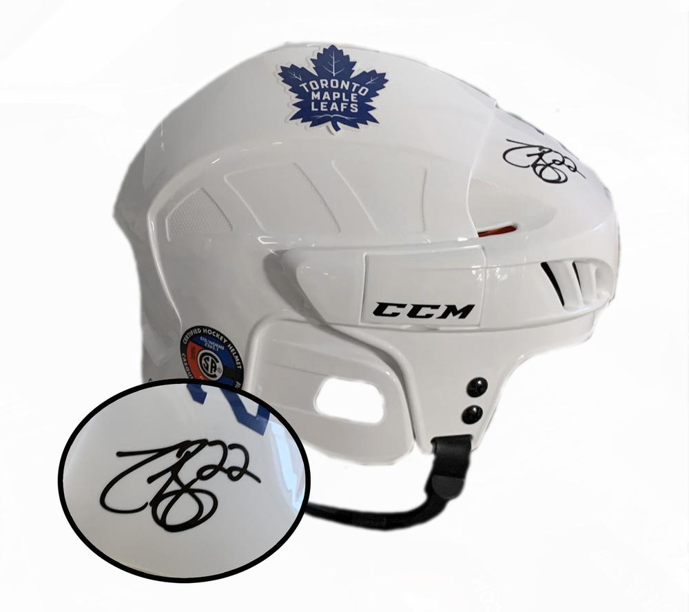 Zach Bogosian Signed Helmet CCM White Maple Leafs