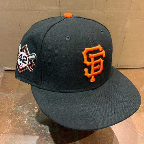 Photo of 2021 Game Used Jackie Robinson 42 Day Cap worn by #34 Kevin Gausman on 4/16 @ MIA - Size 7