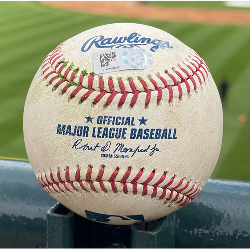 Photo of Game-Used Baseball - Pitcher: Austin Gomber, Batter: Austin Nola (Single to Tapia); Batter: Tucupita Marcano (Strike out looking); Batter: Ha-Seong Kim (RBI Double to Blackmon) - May 12, 2021