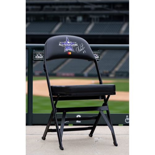 Photo of 2021 Celebrity Softball Game Autographed On Field Chair - Derrick White