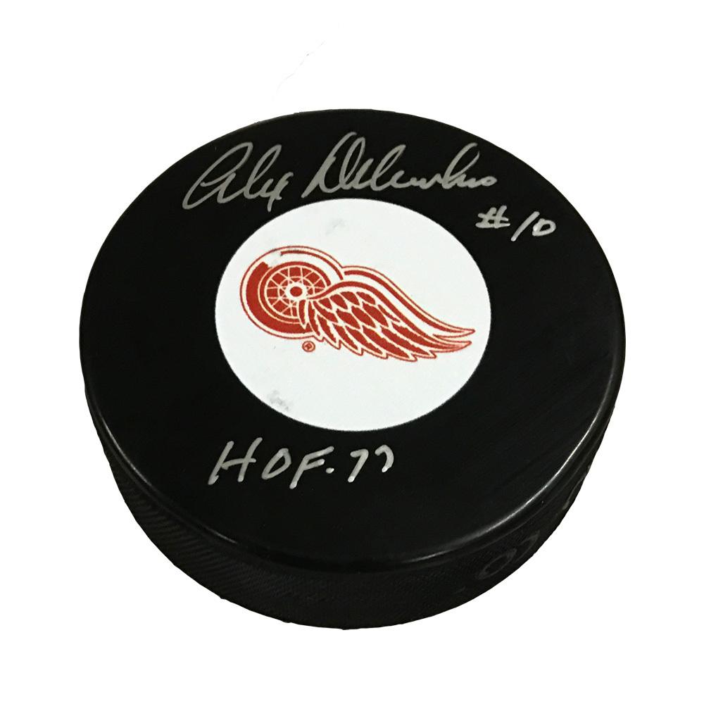 ALEX DELVECCHIO Signed Detroit Red Wings Original 6 Logo Puck with HOF Inscription