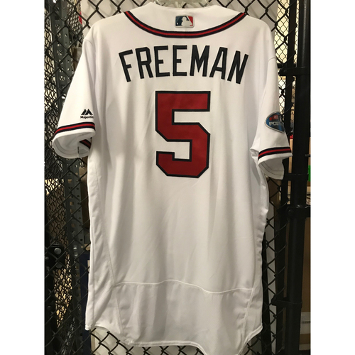Photo of Freddie Freeman Game-Used 2018 NLDS Jersey - Worn 10/7/18 - First Postseason Game at SunTrust Park