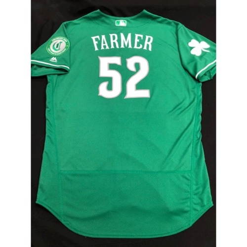 Photo of Kyle Farmer -- Team-Issued Jersey -- 2019 St. Patrick's Day